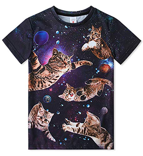 FanientTeenager Jungen Mädchen Hemden 3D-Druck Cat Design Grafik T-Shirt mit Kurzarm für Kinder