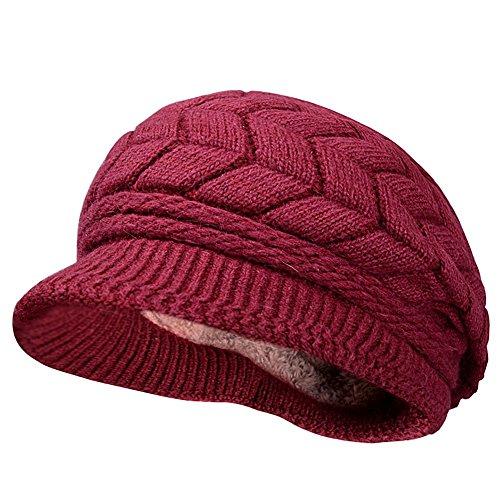 Kuyou Winter Strick Pelzmütze Barett Damen Schirmmütze Kappe Hut (Mode Weinrot)