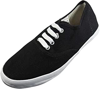 Easy USA - Womens Canvas Lace Up Shoe with Padded Insole, Black, White 37301-8.5B(M) US