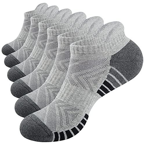 PULIOU Sneaker Socken Herren Damen, 6 Paar Baumwolle Gepolsterte Socken Sportsocken, Atmungsaktiv Sneaker Socken Laufsocken, L02-Grau 43-46