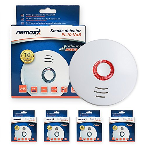 4X Nemaxx FL10VdS Rauchmelder - hochwertiger Rauchwarnmelder nach neuestem VDs Standard Zertifiziert und EN14604 - mit integrierter 10 Jahre Lithium-Batterie