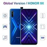 HONOR 9X 4 GB di RAM + 128 GB di memoria Smartphone dual SIM, display FHD da 6,59 ', fotocamera tripla AI da 48 MP, batteria grande da 4000 mAh, Android 9.0, corpo in vetro magico 3D (blu)