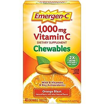 Emergen-C Chewable Vitamin C 1000mg With B Vitamins And Antioxidants Tablet  40 Count Orange Blast Flavor  Dietary Supplement