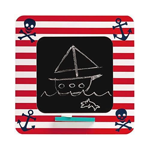 Premier Housewares boekensteunen, piratenmotief krijtbord. 2 x 30 x 30 cm multicolor