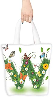 Heavy Duty Shopping Tote Bag,Letter W Nature Inspired Green Foliage with Wildflowers Various Butterflies Vivid Palette,Canvas Grocery Shopping Bags,16.5