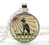 ägyptischer Katzen-Schmuck, Jugendstil Katzen-Schmuck, Göttin Bastet Anhänger Halskette, ägyptische Katze Schmuck