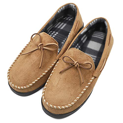 Men's Comfort Memory Foam Moccasin Slippers with Plaid Lining, Breathable Indoor Outdoor Moccasins Loafers, Anti-Slip House Shoes Tan