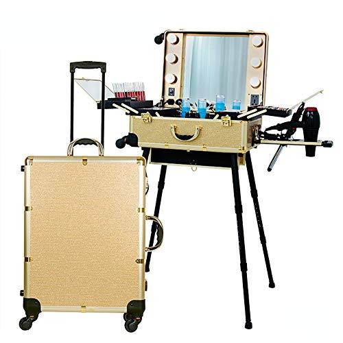 ZZSQ Caisse cosmétique de Train de Coiffure de Chariot avec la Station de Maquillage de Cas de boîte de Maquillage de roulement de lumière/Support/Miroir de 3 Couleurs,d'or