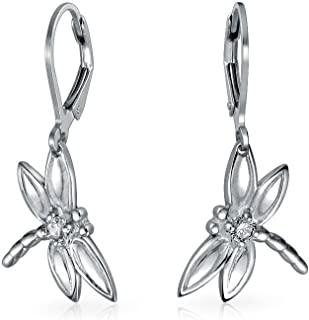 Garden Insect Drop Leverback Dragonfly Dangle Earrings For Women For Teen Round CZ Accent 925 Sterling Silver
