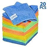Masthome Paños de Limpieza de Microfibra,40 X 30 cm,Bayeta de Limpieza de Microfibra para Casa Cocina,20 unidades,4 Colores