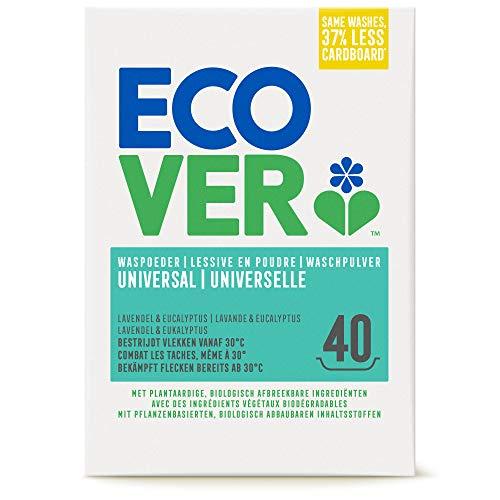 Ecover Lessive Poudre Universelle Origine Naturelle Éco Responsible/Doux pour Votre Peau pour Linge Couleur/Blanc, Lavande, 40 Lavages, 3 kg
