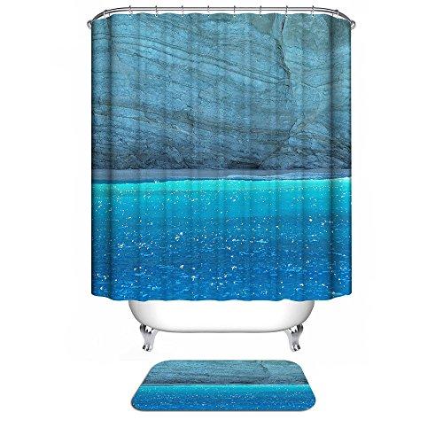 MIWANG Kunst Meer Stein Granit Duschvorhang, Badezimmer wasserdicht Anti-schimmel Gardinen Gardinen an den Fenstern, mit 12 Haken, W180*H 200 cm, 100prozent Polyester Produktion