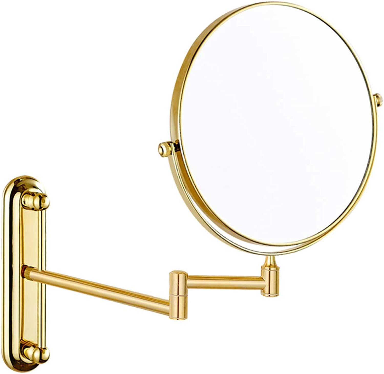 Bathroom mirror gold Hotel Wall mirror Folding Folding Telescopic mirror HD mirror +3X Magnifying Glass Double-Sided Makeup mirror (Size   150mm)
