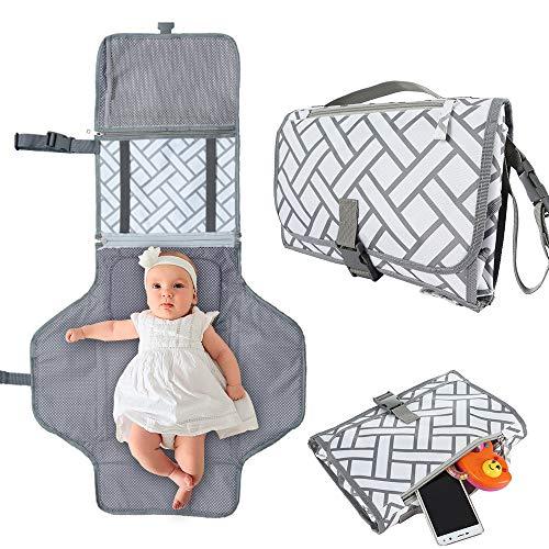 Cambiador portatil de pañales para Bebé Impermeable Kit Cambiador de Viaje con almohada...