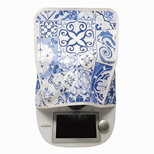 Mix-Slider – Schutzhülle für Thermomix, Abdeckhaube für TM5, TM6, TM31 und andere Küchengeräte (Blaue-Kacheln-Design)