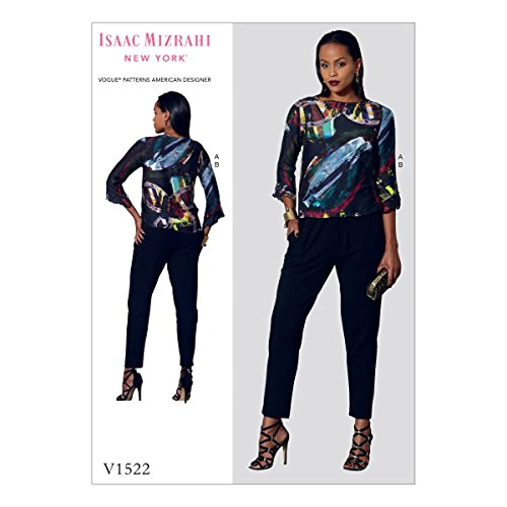 Vogue Patterns V15220Y0 Casual Misses' Flounce-Sleeve Top and Drawstring Pants 4-6-8-10-12-14