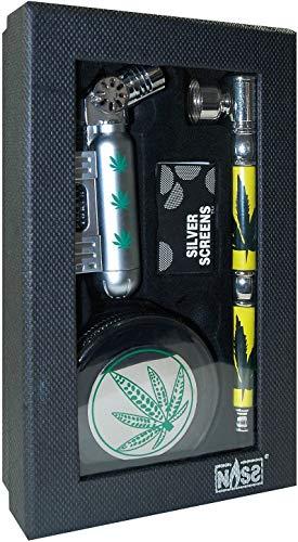 NASS® Geschenkset Grinder 4-TLG - Profi Raucher & Kiffer Set im Box/Geschenkverpackung - Raucherset Zubehör - Grinder, Pfeife Feuerzeug und Siebe