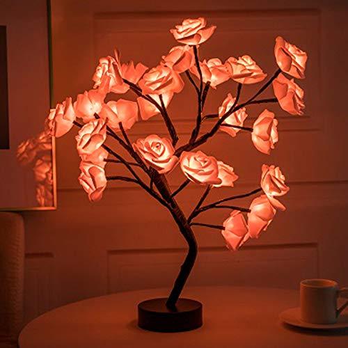 LED Table Lamp Rose Flower Tree USB Night Lights Christmas Gift for Kids Room Rose Flower Lighting Home Decoration