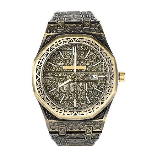 GaxQuly Saudi Mekka - Reloj de pulsera para hombre, diseño vintage tallado