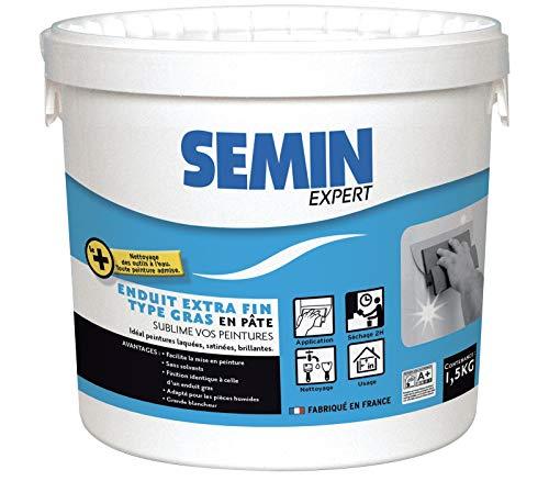 Semin A07252 Enduit Extra Fin, Lissage Type Gras, Sans Solvants, Séchage Rapide, Intérieur/Extérieur, Blanc, Seau de 1,5 kg
