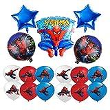 smileh Decoracion Cumpleaños Spiderman Globos 17PCS Globos de Papel de Spider Man para Niños Decoración para fiestas