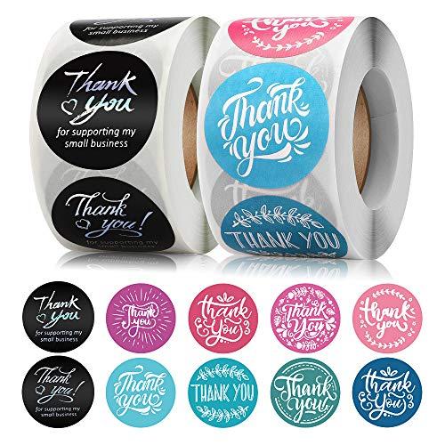Thank You Stickers Roll 1000 Count(1.5inch), Thank You Stickers Small Business Supplies Round Labels, Envelope Seals Thank You for Supporting My Small Business Sticker for Packaging
