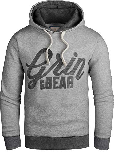 Grin&Bear Slim fit Signatur Logo Jacke Kapuze Hoodie Sweatshirt Kapuzenpullover, grau meliert, L, GEC469