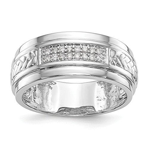 14ct White Gold Diamond Trio Men's Wedding Band Ring 0.128CT for Women