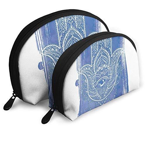 Schalenform Make-up Bag Set Tragbare Geldbörse Reise Kosmetikbeutel, Abstrakte Zier Antike Figur Hand Gezeichnet Zarte Details Mystik Ethnische Kunst, Frauen Toilettenartikel Clutch