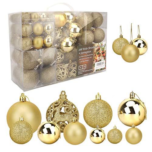 Ulikey Bolas de Navidad 100 Piezas Bolas de Árbol de Navidad Adornos Decoraciones Árbol Adorno de Pared Colgante de Pared Decoración de Bolas de Navidad Decoraciones para Festivales Fiesta (Dorado)