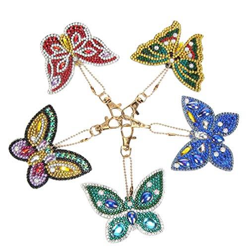 Supvox 5 piezas diy mariposa diseño diamante pintura llavero 5d mosaico haciendo taladro completo forma especial diamante pintura colgante para adultos niños niños