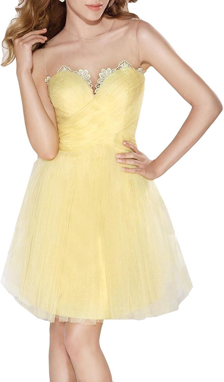 Emmani Women's Aline Illusion Sweetheart Mini Party Bridesmaid Dresses