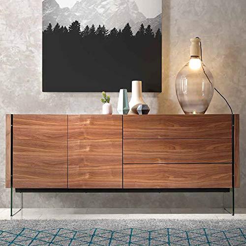 M-034 dressoir modern, kleur notenhout en cronos