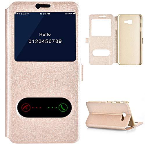 Galaxy J4 Plus Flip Case, Galaxy J4 Plus Custodia Finestra Oro, Protezione Custodia Magnetica Cover Protettiva Etui con Supporto Libro Cover con 2 Finestra Caso Compatibile con Samsung Galaxy J4 Plus