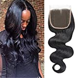 Selina 14 inch 4x4 Free Part Lace Closure Body Wave Brazilian Human Hair 100% Unprocessed Lace Closure Natural Color for...