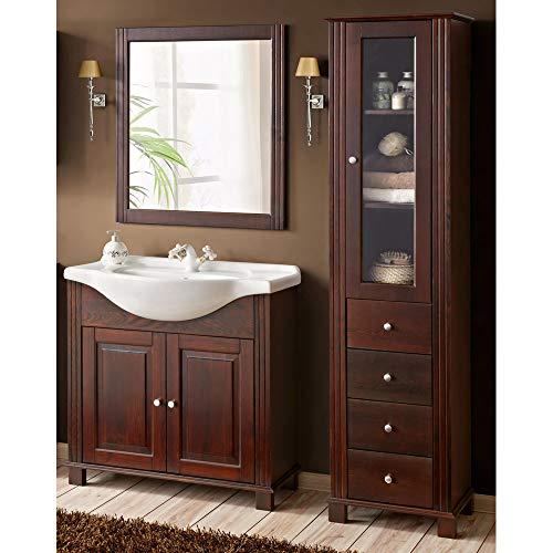 Loma DOX Juego de Muebles de baño en Estilo rústico  marrón Madera de Pino  85cm Armario de Lavabo con Lavabo de cerámica –Armario Alto con 4cajones y Puerta de Cristal & Espejo