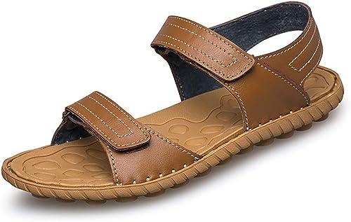 BAIF Sandales de Sport pour Hommes, Pantoufles athlétiques à Bout Ouvert, Double Bouts à Crochets et Boucles pour l'été, Chaussures de Marche en Plein air, Cuir, Plat, Dessus, Chaussures d'été po