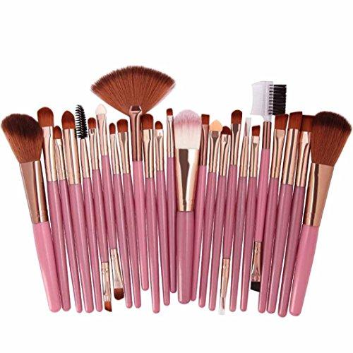 Make-up Pinsel,Binggong 25pcs Kosmetik Make-up Pinsel Rouge Lidschatten Pinsel Set Kit Pinselset Premium Pinselhaare Gesicht Pulver Pinsel (18x14x2cm, Mehrfarbig B)