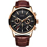 LIGE Men's Watches Sports Chronograph Analog Quartz Waterproof Stainless Steel Leather Business Design Calendar Gent Wrist Watch