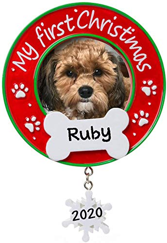 My First Christmas (Dog) Picture Frame Personalized Christmas Tree Ornament 2020 | Custom Writing My First Christmas (Dog) Picture Frame Ornament Gift