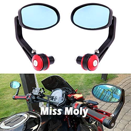 Espejo Lateral de la Motocicleta 7/8'22mm Espejos de Extremo de Barra de Manillar para Scooter Cruiser Chopper (Rojo)