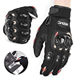 YISSVIC CE Mark 1KP Non-Slip Full Finger Touchscreen with Breathable Holes Motorcycle Gloves for Men...