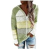 EUCoo - Maglione da donna alla moda, stile casual, patchwork, a maniche lunghe, con cappuccio Verde XXL