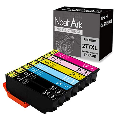 NoahArk Remanufactured Ink Cartridge Replacement for Epson 277 277XL High-Capacity for Epson Expression XP-850 XP-860 XP-950 XP-960 Printer (2Black/Cyan/Magenta/Yellow/Light Cyan/Light Magenta,7-Pack)