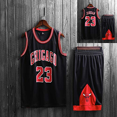 SYXBB-Lampe Herren NBA Michael Jordan # 23 Chicago Bulls Basketball Trikot,Black b,5XL