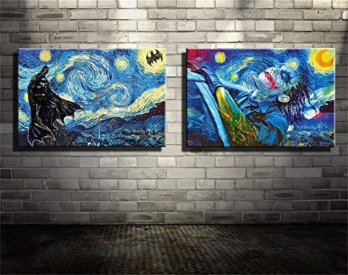 Batman,Joker,Starry Night 2PCS Wall Art Home Wall Decorations for Bedroom Living Room Oil Paintings Canvas Prints-863