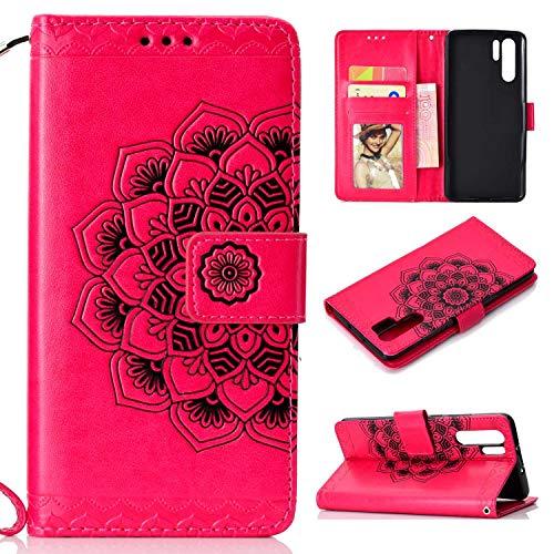 Braovday Coque Huawei P30 Pro, Etui Huawei P30 Pro, Housse en Cuir Premium Flip Case Portefeuille Etui Coque avec [Fermeture Magnétique] pour Huawei P30 Pro, Rouge