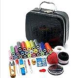 Kit de Costura Juego de Coser PU Caja de Costura portátil Caja de Almacenamiento de Herramientas de Costura Corea 24 Cinta de Costura de Color Ligero y Portátil (Color : Black, Size : One Size)