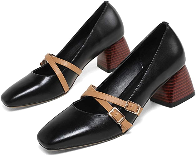 ZYN-XX Tête voiturerée Chaussures Femmes Simples Chaussures polyvalentes de Grand-mère avec Bouche Peu Profonde Chaussures Mary Jane Tête voiturerée avec rétro Chaussures Paresseux