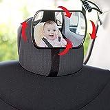SUMEX 1 Espejo Retrovisor 3 en 1 para Vigilar al Bebé en el Coche, Ajustable...